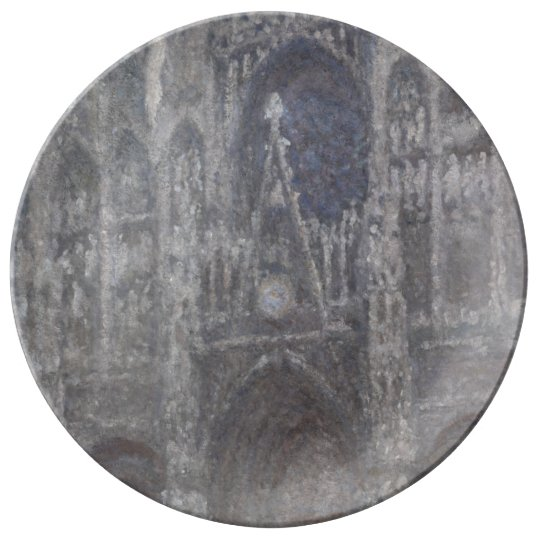 Cathedral in Rouen Portal Grey Weather by Monet Porcelain Plate