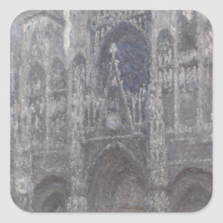 Cathedral in Rouen Portal Grey Weather by Monet Stickers