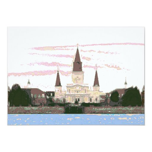 """Cathedral, Jackson Square, New Orleans 5"""" X 7"""" Invitation Card"""