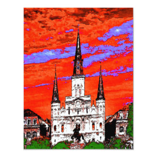 Cathedral, New Orleans, Fauvist Colors 4.25x5.5 Paper Invitation Card