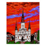 Cathedral, New Orleans, Fauvist Colors Print