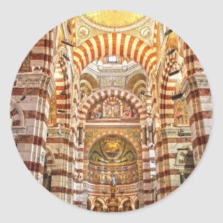 Cathedral Notre Dame de la garde in Marseille Classic Round Sticker