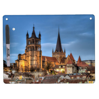 Cathedral Notre Dame of Lausanne, Switzerland, HDR Dry Erase Board With Keychain Holder