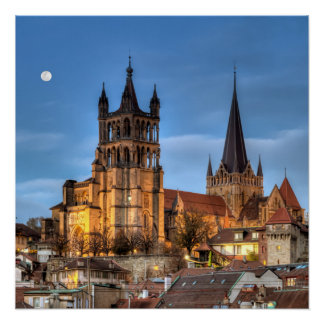 Cathedral Notre Dame of Lausanne, Switzerland, HDR Poster