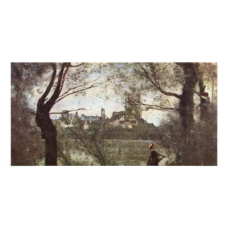 Cathedral Of Mantes By Corot Jean-Baptiste-Camille Picture Card