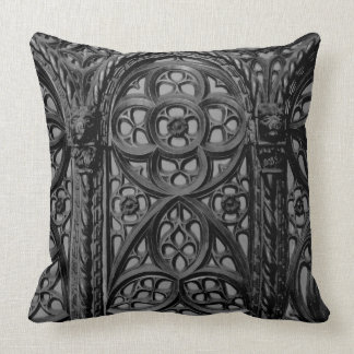 Cathedral Pew Geometric Wood Carving Pattern 02 Pillow