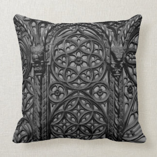 Cathedral Pew Geometric Wood Carving Pattern 03 Pillow