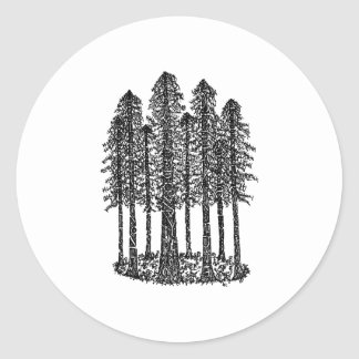 Cathedral Ring (Coastal Redwoods Sketch) Classic Round Sticker