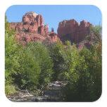Cathedral Rock and Stream in Sedona Arizona Square Sticker