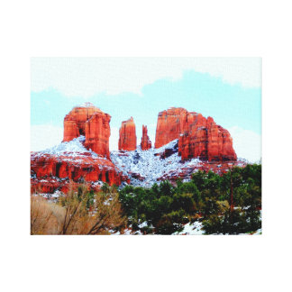 Cathedral Rock in the Snow Canvas Prints