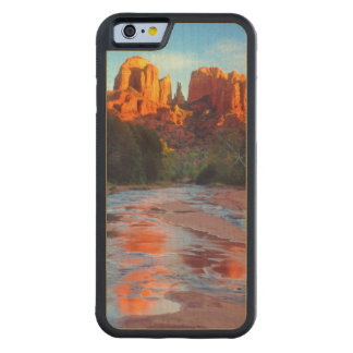 Cathedral Rock reflecting in Oak Creek at Sunset Carved® Maple iPhone 6 Bumper