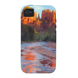 Cathedral Rock reflecting in Oak Creek at Sunset Case-Mate iPhone 4 Cases
