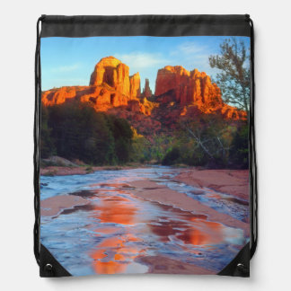 Cathedral Rock reflecting in Oak Creek at Sunset Drawstring Backpack