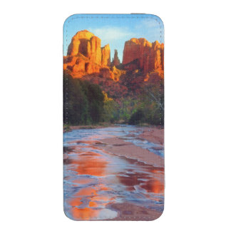 Cathedral Rock reflecting in Oak Creek at Sunset iPhone 5 Pouch