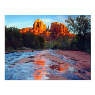 Cathedral Rock reflecting in Oak Creek at Sunset Postcard