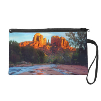 Cathedral Rock reflecting in Oak Creek at Sunset Wristlet Purse