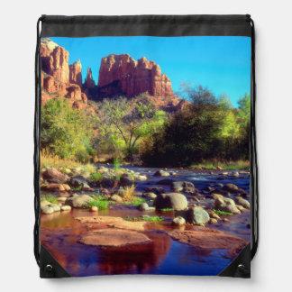 Cathedral Rock reflecting in Oak Creek Drawstring Bag