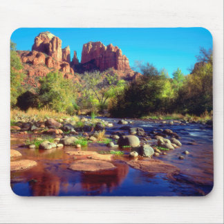 Cathedral Rock reflecting in Oak Creek Mouse Pad