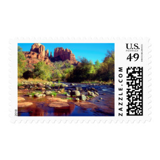 Cathedral Rock reflecting in Oak Creek Stamp
