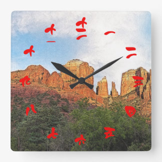 Cathedral Rock Sedona Arizona Red Chinese Numerals Square Wall Clock