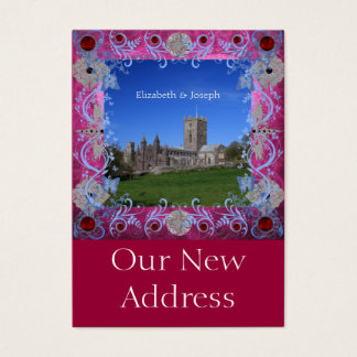 Cathedral rubies Art Deco Change of Address Business Card