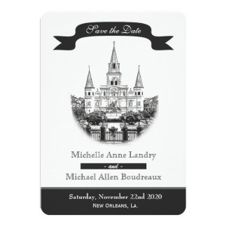 Cathedral Save the Date Black and White Card