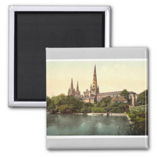 Cathedral, South Side, Lichfield, England rare Pho 2 Inch Square Magnet