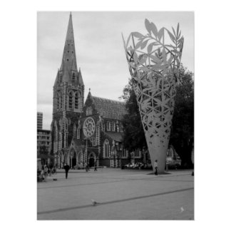 Cathedral Square (Black & White) Poster