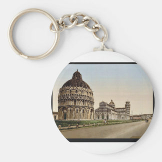Cathedral Square, Pisa, Italy vintage Photochrom Keychain