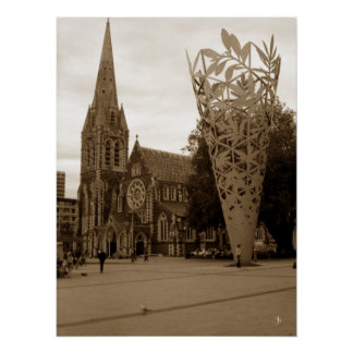 Cathedral Square (Sepia) Poster