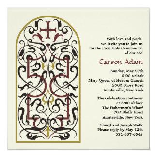 """Cathedral Window Religious Invitation 5.25"""" Square Invitation Card"""