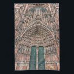 """Cathedrale Notre-Dame, Strasbourg, France Kitchen Towel<br><div class=""""desc"""">Frontispiece of the facade of Cathedrale Notre-Dame or Cathedral of Our Lady of Strasbourg with all detailed sculptures,  Alsace,  France</div>"""