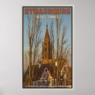 Cathédrale Notre Dame y árboles Póster