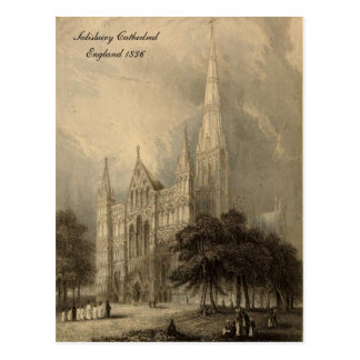 Cathedrals of England Series: Salisbury 1836 Postcard