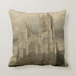 Cathedrals of England: York 1836 Pillow Throw