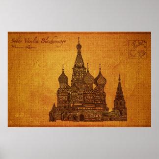 Cathedrals Sobor Vasilia Blazhennogo Moscow Poster