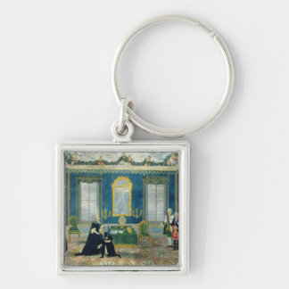 Catherine II recalling Chancellor Alexey Silver-Colored Square Keychain