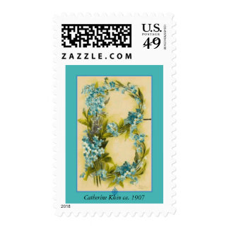 Catherine Klein Flower Alphabet Letter B Blue Postage Stamps