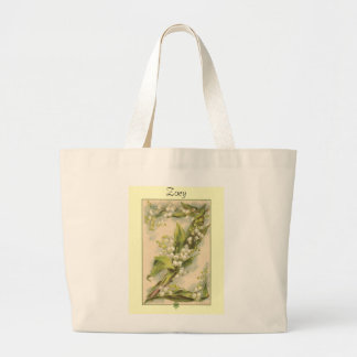 Catherine Klein Flower Alphabet Z Lily of Valley Canvas Bags