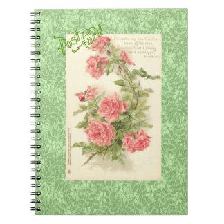 Catherine Klein pink roses green leaves postcard Notebook