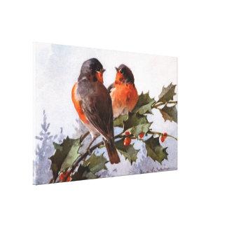 Catherine Klein: Robins on Holly Canvas Print