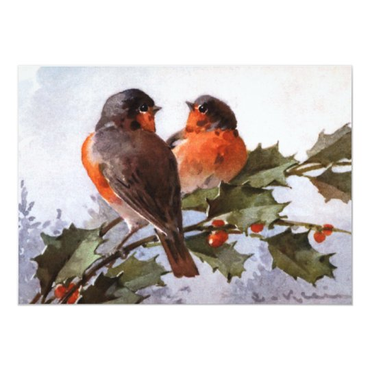 Catherine Klein: Robins on Holly Card