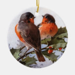 Catherine Klein: Robins on Holly Christmas Ornaments
