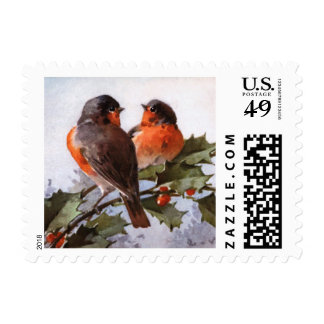 Catherine Klein: Robins on Holly Stamp