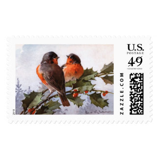 Catherine Klein: Robins on Holly Stamps