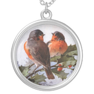 Catherine Klein: Robins on Holly Round Pendant Necklace