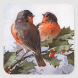 Catherine Klein: Robins on Holly Square Sticker