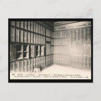 Catherine Medici Library, Blois France Vintage postcard