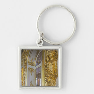 Catherine Palace, detail of the Great Hall 2 Silver-Colored Square Keychain