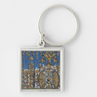Catherine Palace, palace gate Silver-Colored Square Keychain